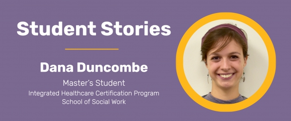 Text reading student stories: Dana Duncombe with picture of girl smiling