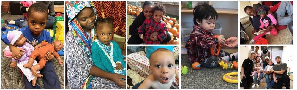 A collage of photos featuring children and parents